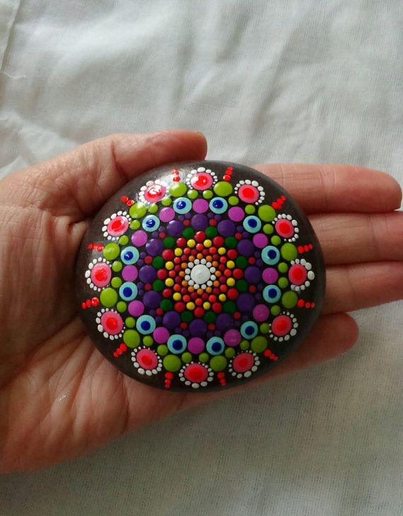 Dot painted Mandala Stone by DigsGroove on Etsy