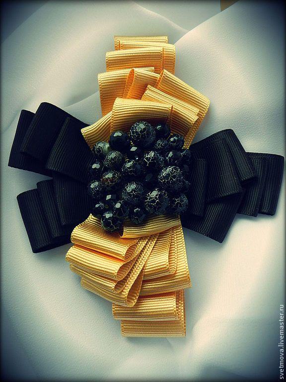 """брошь """"Черное золото"""", из репсовой ленты - золотой,золото,черный,черный агат"""