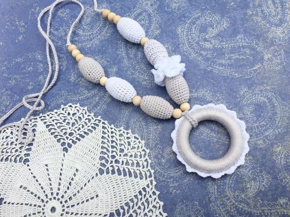 Nursing necklace  grey necklace   teething ring  by ForeverValues