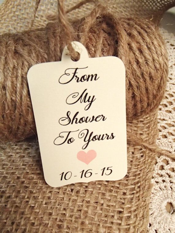 Bridal Shower Favour Tags From My Shower To Yours Shower