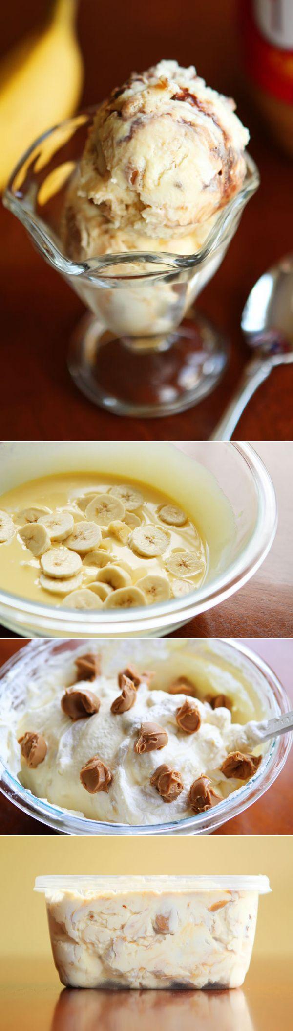Banana Pudding Ice Cream with Chocolate and Peanut Butter Swirls