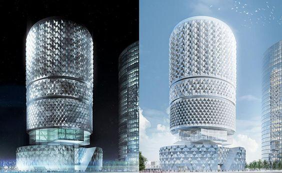 Arata Isosaki, master plan, asymptote architecture, China, Zhengzhou, tower, high rise, cylindrical towers, geometric pattern
