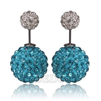 Double Ball Crystal Studs (8mm & 15mm size) $10.00.