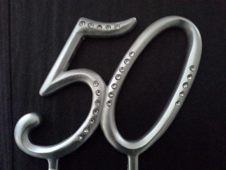 Silver Diamante 50th Birthday Cake Topper