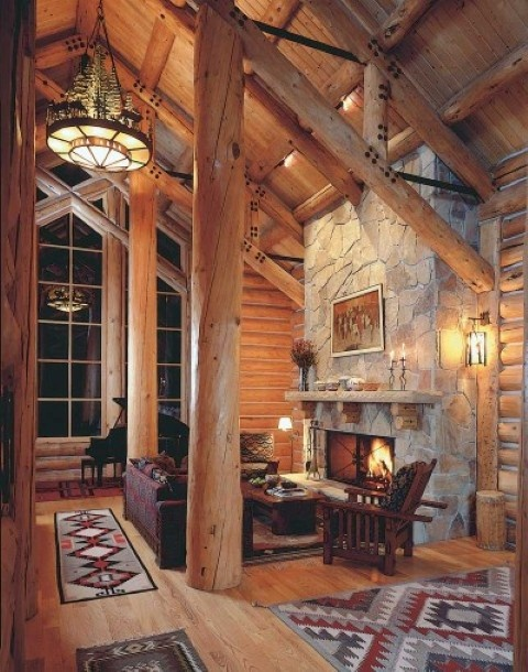 Log cabin living room with large beautiful window and stone fireplace 75 best Rustic Cabin Living Room images on Pinterest  ideas
