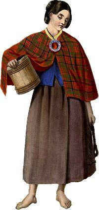 An 1842 R R McIan portrait of a MacNicol milkmaid. Notice the brooch.