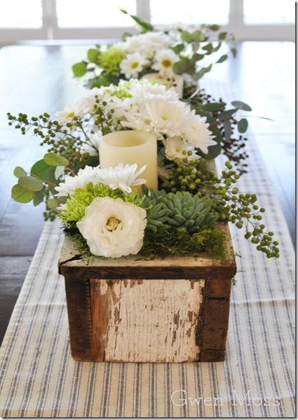 Long Wood Box Filled Flowers And Candles For Dining Room Table