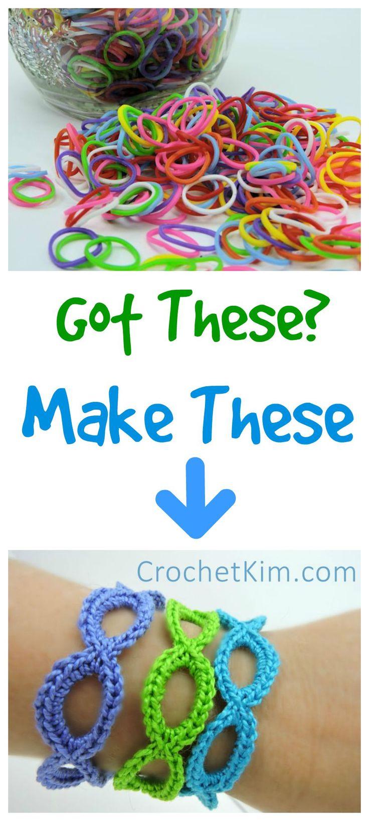 Stretchy Bracelets Made Loom Rubber Bands | free crochet(Da muss ich meiner Nichte wohl ein paar von diesen Mini-Gummibändern klauen...)