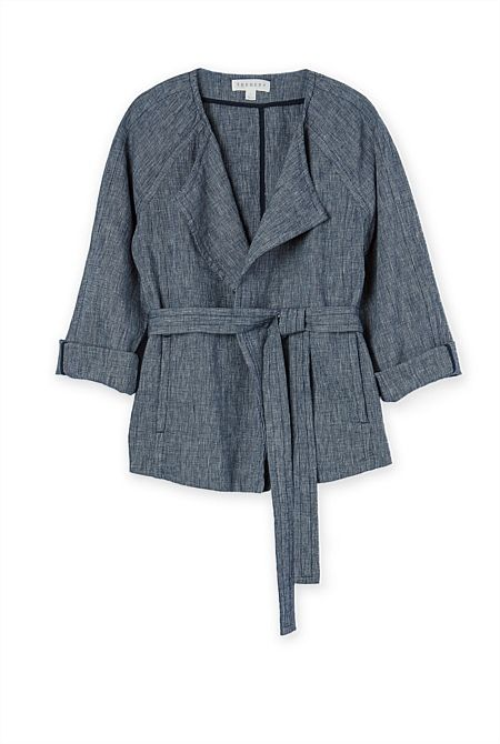 Yarn Dyed Textured Wrap Jacket - From Trenery