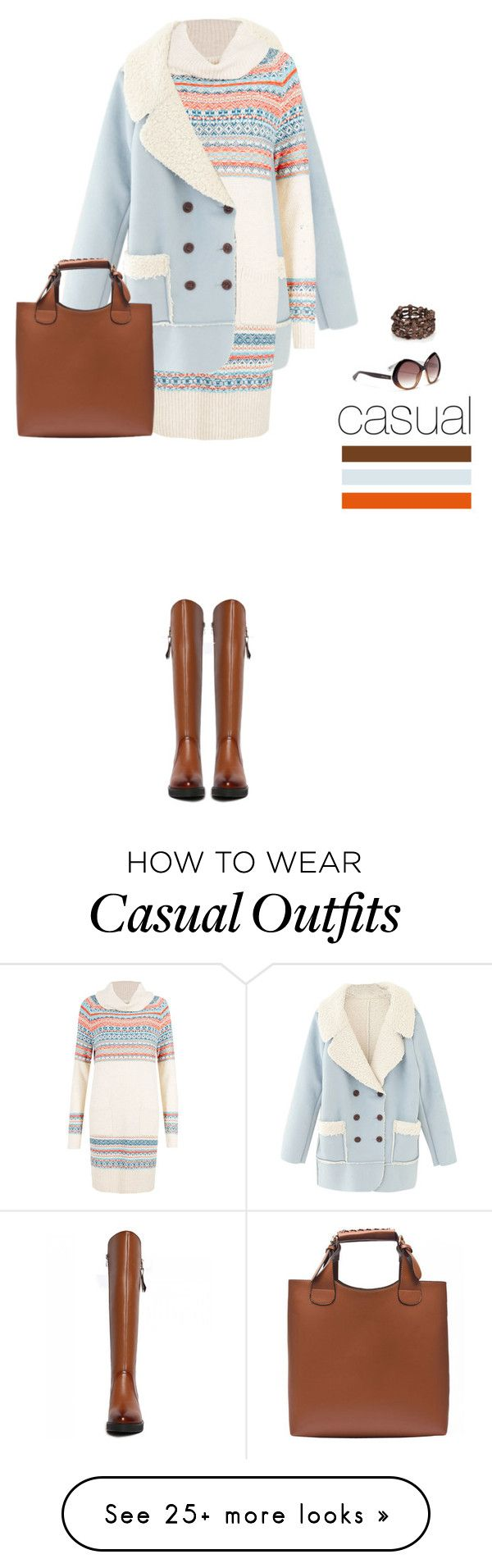 """""""Casual outfit: Brown - Light Blue"""" by downtownblues on Polyvore featuring Jimmy Choo"""