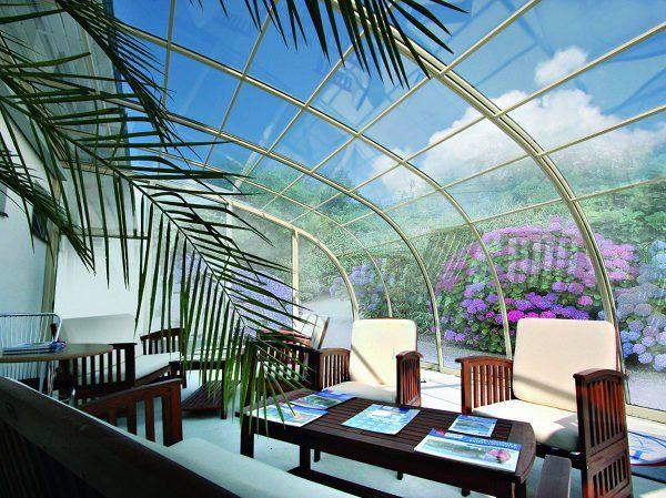 Summer Atmosphere Under Retractable Patio Enclosure Corso Entry Attached To A House Patio Enclosures Patio Spa Pool