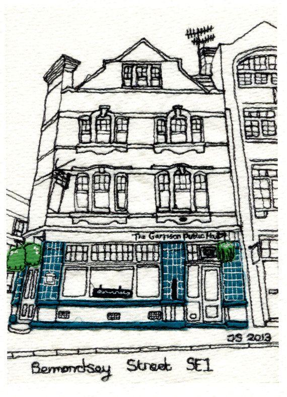 Quality print of original picture -Garrison Pub, Bermondsey Street, London SE1, England.