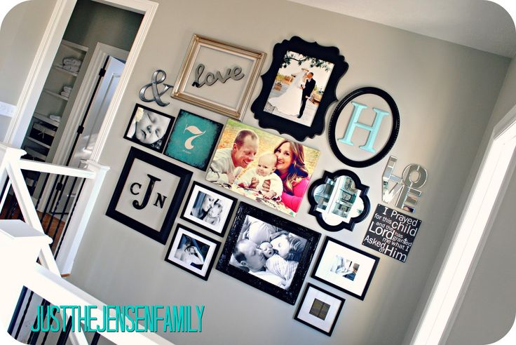 DIY Gallery Wall                                                         I like this look. I've seen it with all the same color frame, but its nice with different colors.