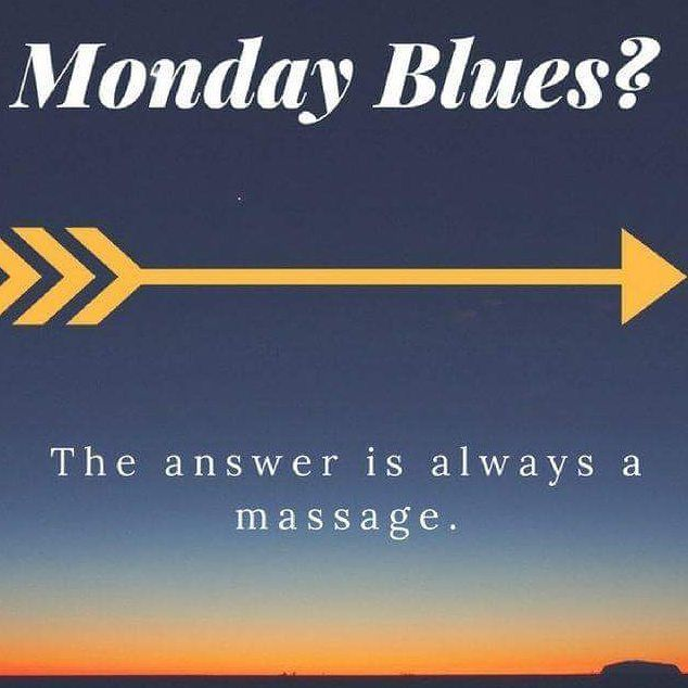 No more Monday Blues Massage is the answer Have : Myotherapy Remedial Massage Swedish ( spa) Massage Sports Massage Deep Tissue Massage Lymphatic Drainage massage Pregnancy massage-pre and post natal Aromatherapy Reflexology Hot Stone Massage Call, email elicia_brennan@hotmail.com or Text to make a booking See www.ebmyotherapy.com for details #monday #motivation #motivationalmonday #inspiration #MondayMotivation #mondaymassage #health #fitness #wellbeing #wellness #instahealth ...