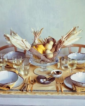 Rosa Beltran Design {Blog} gold flatware holiday thanksgivingHoliday, Ideas, Marthastewart, Harvest Tables, Thanksgiving Centerpieces, Fall Tables, Martha Stewart, Tables Linens, Thanksgiving Tables Sets