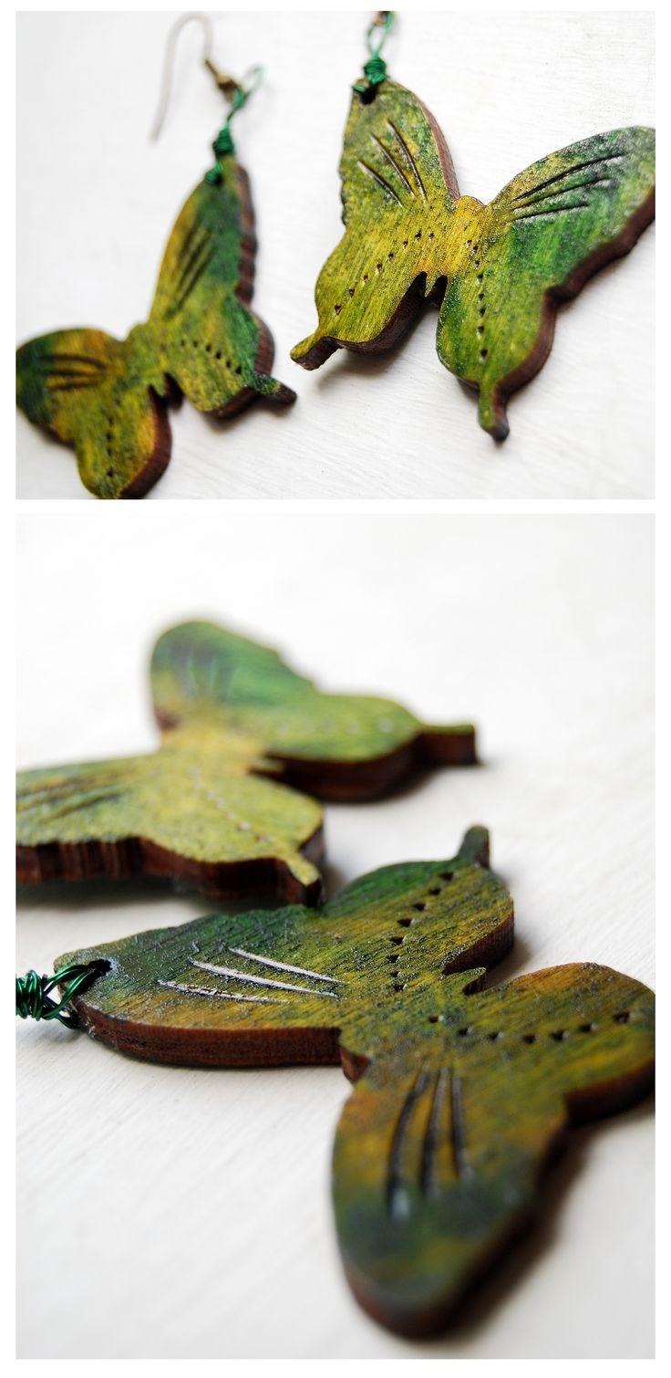 wooden pyrography earrings