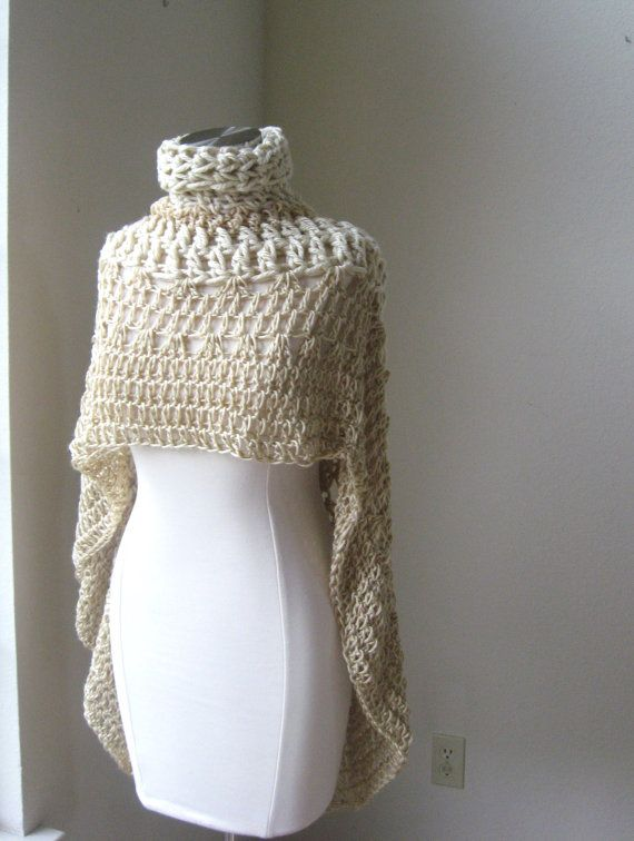 1 Beige Bohemian Poncho Crochet Knit Cream Cape Shawl ...