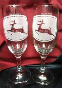 John Deere Wedding Wine Glasses, Personalized Wedding Toast Flutes
