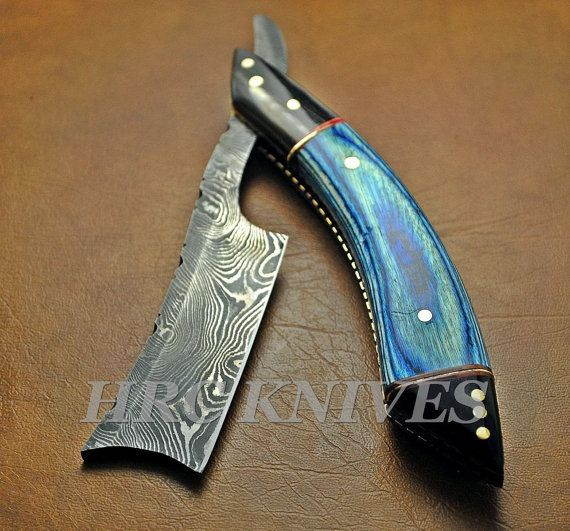 Damascus Straight Razor Blade mens Handmade Shaver DG3 by HRCTOOLS