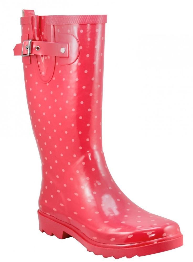 Chooka - Women's Classic Dots Coral Pink Rain Boots - DLL Rainwear