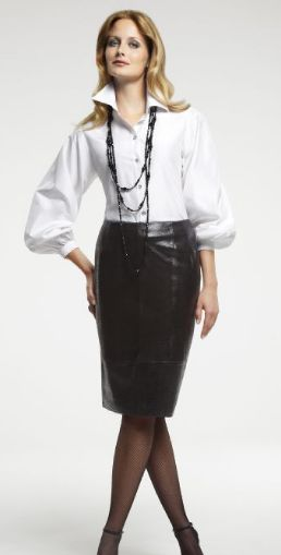 Black Leather Skirt White Blouse - Dress Ala