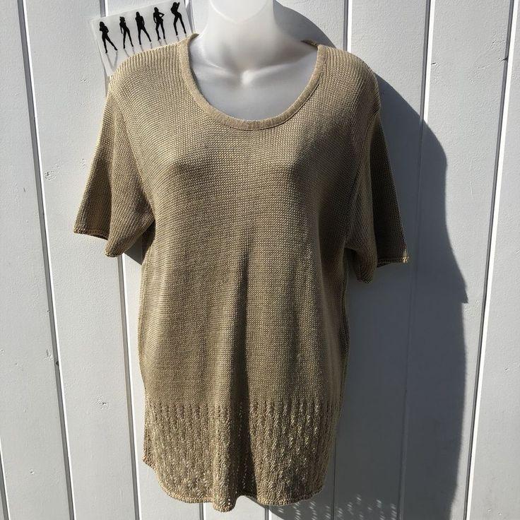 Sophisticates by Jonathan Martin Women's Beige Short Sleeve Sweater Size Large #SophisticatesbyJonathanMartin #Crewneck #Casual