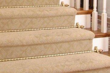 Tringles pour tapis d'escalier - Collection Grand Dynasty 100% laiton Diamétre 19,1mm - Tube torsadé finition laiton poli