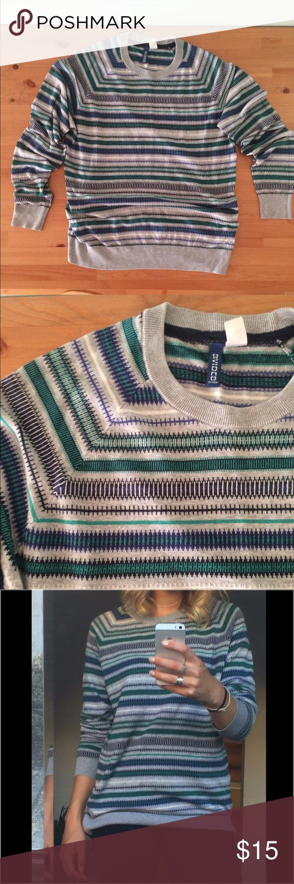 H&M Men Striped Crew Neck Sweater Super comfy and cool sweater by H&M Men. 55% Cotton / 45% Acrylic. Good Condition. H&M Sweaters Crew & Scoop Necks