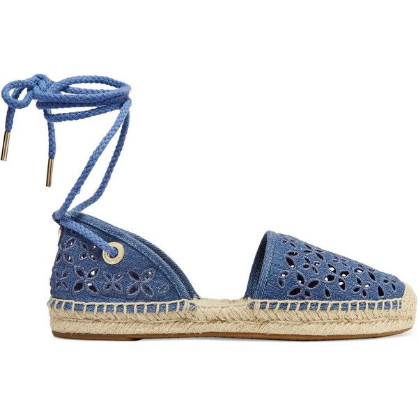 MICHAEL Michael Kors Darci embroidered denim lace-up espadrilles (€74) ❤ liked on Polyvore featuring shoes, sandals, flats, sapatos, mid denim, denim flats, round toe lace up flats, denim sandals, round toe flats and laced up flats