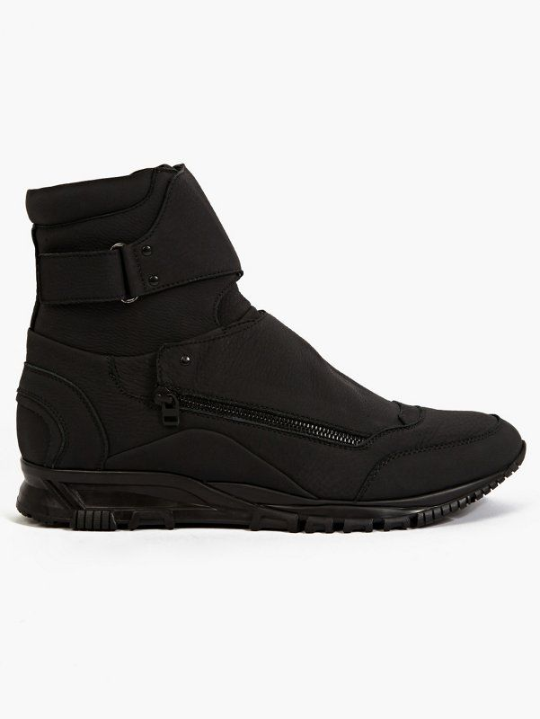 Lanvin, Black Matte Leather Hi-Top Running Sneaker | oki-ni