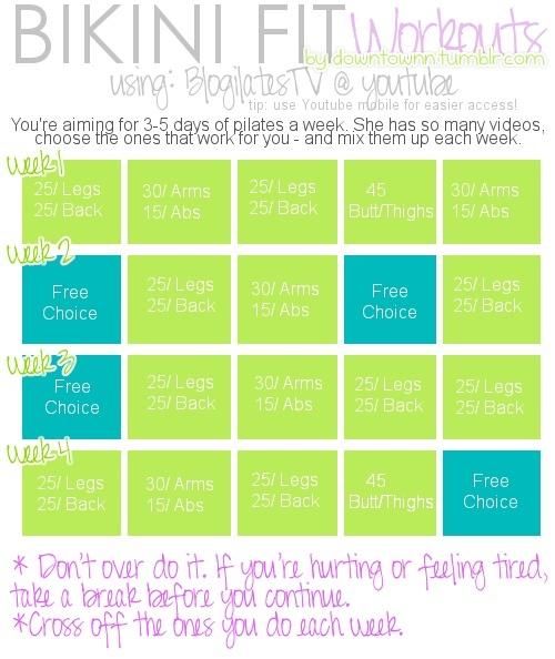 Workout Calendar Ilates : Bikini fit pilates workout schedule need a flat stomach
