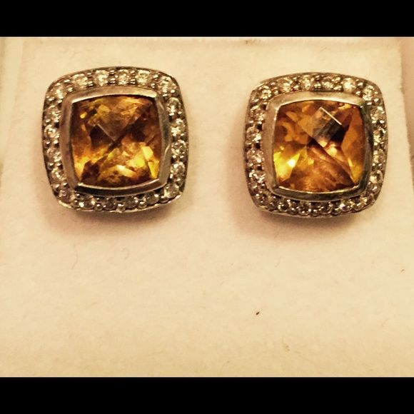 David Yurman Citrine earrings with diamonds. Stunning citrine and diamond David Yurman earrings in sterling silver. These gorgeous gems have so much sparkle to them! You will love them! NWOT. David Yurman Jewelry Earrings