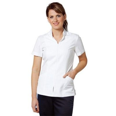 Womens Zip Short Sleeve Tunic Min 25 - Work Tunic in 100% Premium Polyester Fabric with Lower Front Pocket. http://www.promosxchange.com.au/womens-short-sleeve-tunic/p-9479.html