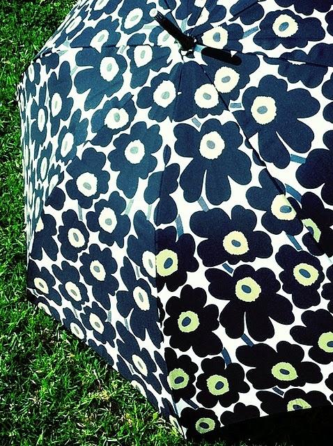 An umbrella with the Marimekko design.
