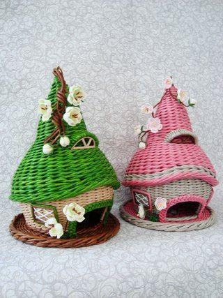 Плетёные штучки из бумажной лозы