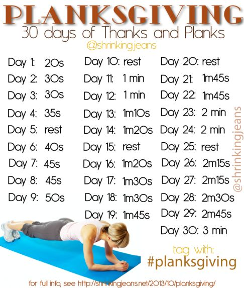 Planksgiving: 30 Days of Thanks and Planks. A monthly workout calendar