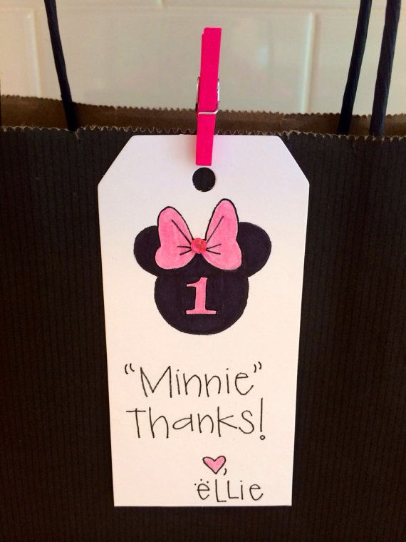 Minnie Mouse Birthday Gift Tag | Thank you Card Tag | Minnie Mouse Baby  | Custom Gift Tags | Personalized gift tag | DIsney Theme Party on Etsy, $1.50