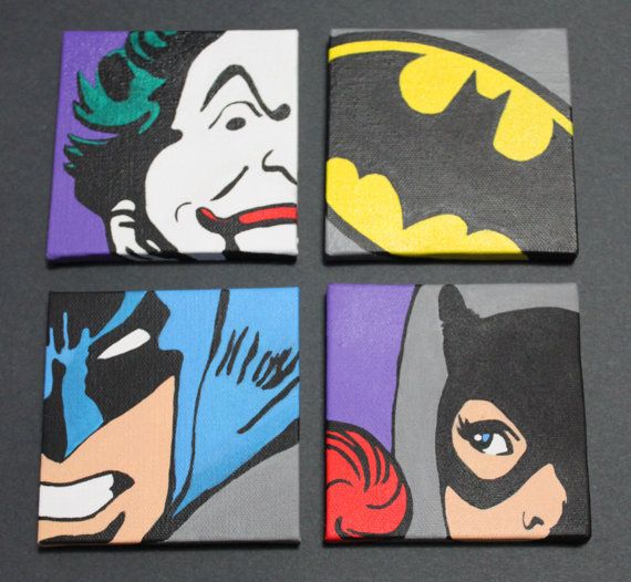 For my movie room :) Classic Batman Set of 4 12x12 Wall Art by ArtofaSilentBee on Etsy, $130.00