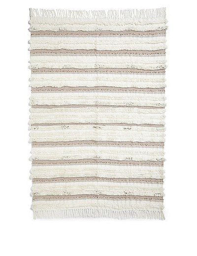 Pure Cotton Sequin Shaggy Throw   Marks & Spencer London