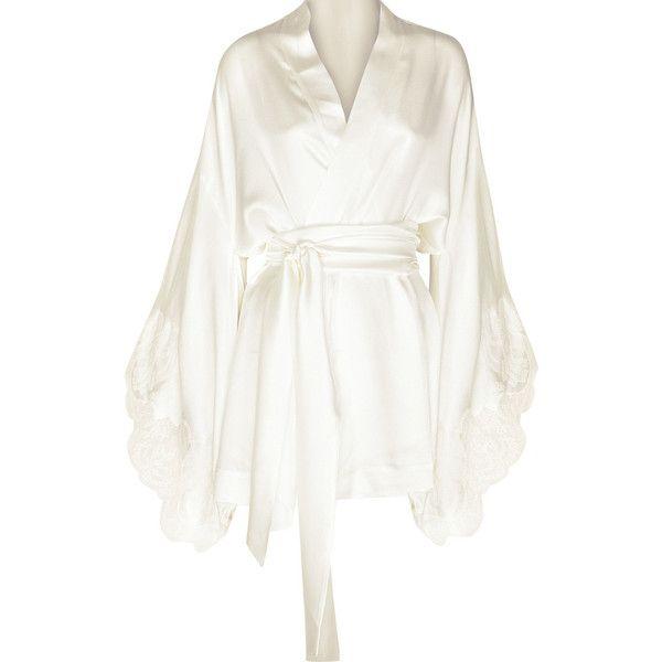 Venise silk-satin short robe (£1,025) ❤ liked on Polyvore featuring intimates, robes, lingerie, dresses, pajamas, underwear, women, short kimono robe, short bathrobe and kimono dressing gown