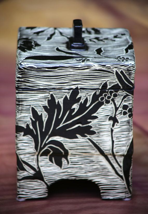 Handcarved Sgraffito Pottery Box FREE by Gypsysistersstudio
