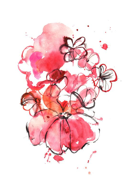 Red flowers made in watercolor. Perfect gem to brighten up your home decor! #watercolor #homedecor #boligindretning