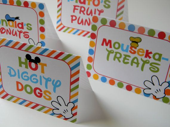 8 Mickey Mouse Clubhouse Printed Food Label by sweetheartpartyshop