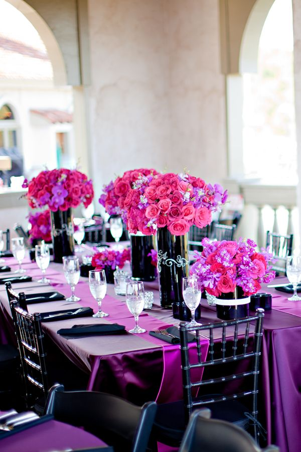 .: Jewels Tones Wedding, Purple Wedding Receptions, Wedding Ideas, Colors Theme, Wedding Colors, Bridal Shower, Flower, Black, Bright Colors