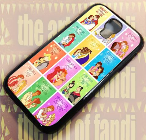 Disney Princess Love Quote For Samsung Galaxy S4 Black Rubber Case