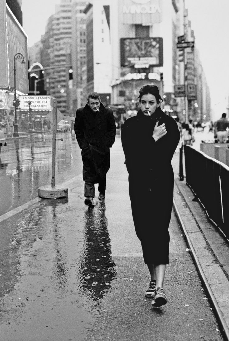 1. James Dean in Times Square, New York City, 1955, by Dennis Stock  2. Liv Tyler in Times Square, New York City, 1995, by Lara Rossignol