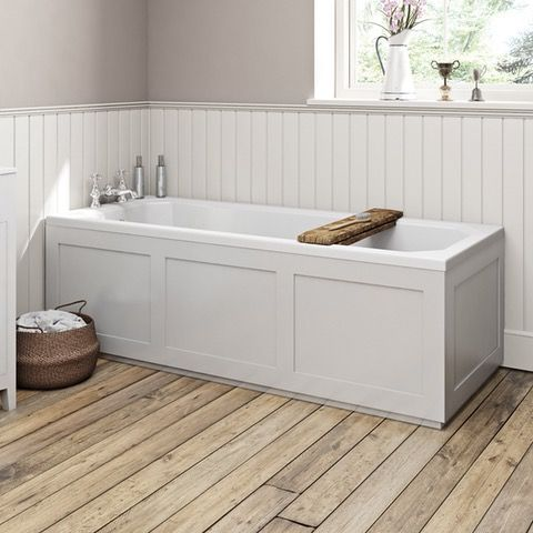 The Bath Co. Camberley white wooden straight bath front panel 1700mm | VictoriaPlum.com