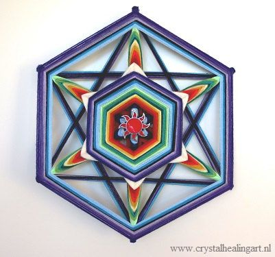 Mandala weaving 16 inch merkaba by CrystalHealingArt on Etsy, €65.00