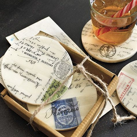 The old world script and postmarks are based on antique French documents. Each coaster design in this set of four is different, so they look like you've collected them over time.: Design Sets, Coasters Design, Antiques French, Coasters Sets, Gifts Ideas Th, Blog Ideas, Ballard Design, Documents Coasters, Crafty Ideas