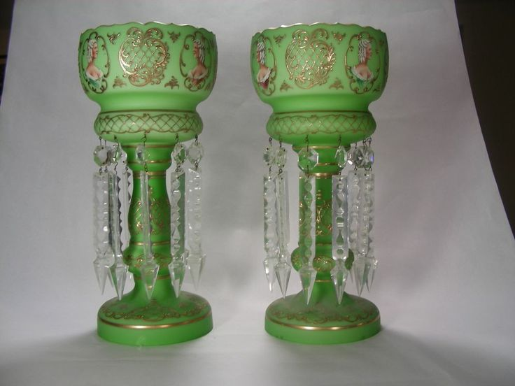 Set of (2) Antique 1880-1900 Victorian Candle Holder Lusters